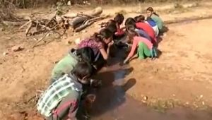 Madhya Pradesh : Students forced to study in open and drink from canal, Watch video