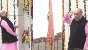 Republic Day BJP Chief Amit Shah unfurls tricolour at party HQ in Delhi