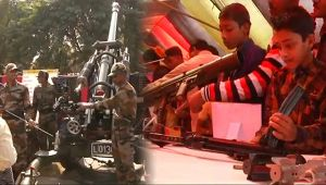 Indian army display arms and ammunitions in Tripura to attract local youth