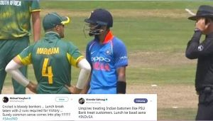 India vs South Africa 2nd ODI : ICC trolled after umpires call lunch with 2 runs to win