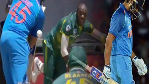 India vs South Africa 3rd ODI : Rohit Sharma dismissed for 'Duck', Rabada strikes