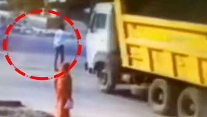 Gujarat man gets hit by out of control dumper, Watch shocking CCTV footage