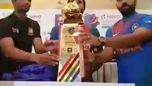 Nidahas Trophy unveiled by Rohit Sharma, Dinesh Chandimal and Mahmudullah