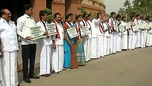 AIADMK Protest over Cauvery Water dispute continues in Parliament; Watch Video