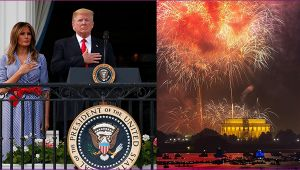 United States of America celebrates 4th of July with fireworks
