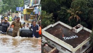 Kerala Flood : Navy greeted by 'Thanks' note on Kochi house's roof