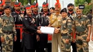 BSF, Pak Rangers exchange sweets to celebrate Pakistan's Independence Day