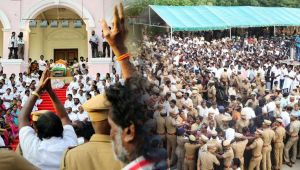 Crowds swell at Rajaji Hall to catch a glimpse of Late Karunanidhi