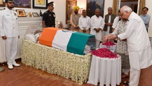 Pranab Mukherjee, LK Advani, Sushma Swaraj pay homage to Vajpayee