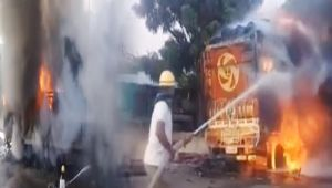 Truck Loaded with chemical catches Fire after collision in Ajmer, Watch Video