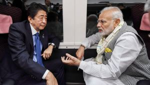 PM Modi and Japanese counterpart Shinzo Abe take express train to travel to Tokyo
