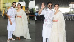 Deepika Padukone, Ranveer Singh looks Happy Together, Heads for Bengaluru Reception