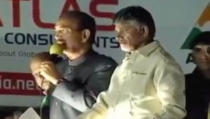AP CM Naidu, Congress leader Ghulam Azad conduct road show in Hyderabad