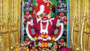 Lord Hanuman dressed up as Santa Claus in a temple in Gujarat