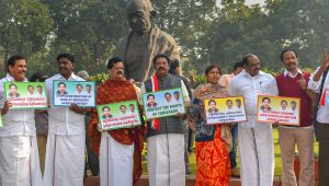 AIADMK protests against construction of dam across Cauvery