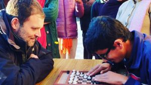 Rahul Gandhi interacts with specially-abled children at ICSA in Shimla