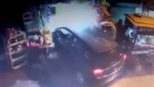 Speeding car rams into shop in Delhi's busy Shakarpur market, CCTV Video