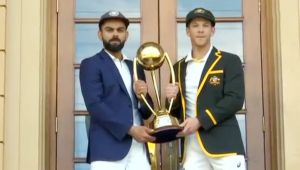 India vs Australia 1st Test: Virat Kohli and Tim Paine pose with Border–Gavaskar Trophy