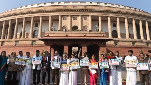 AIADMK MPs protest against construction of dam across Cauvery River