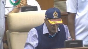 Ailing Goa CM Manohar Parrikar addresses the budget session in State Assembly