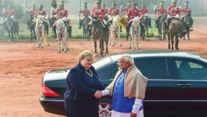 Norwegian PM Erna Solberg receives ceremonial reception at Rashtrapati Bhavan