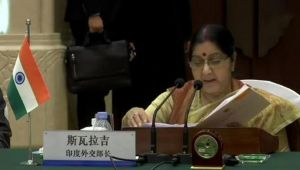 India doesn't wish to see further escalation : Sushma Swaraj in China