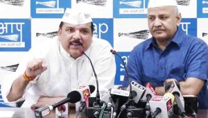 Sanjay Singh held a press confrence on AAP Congress alliance in Delhi