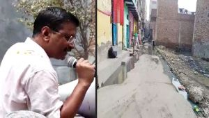 CM Kejriwal getting drains repaired in delhi streets ahead of election