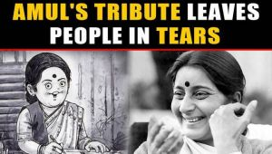 Amul India pays tribute to Sushma Swaraj, leaving many in tears