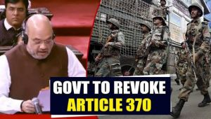 Home Minister Amit Shah proposes revocation of Article 370....