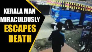 Kerala Man miraculously escapes death after bus hits him, video goes viral