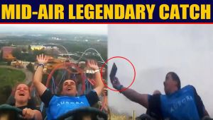 Man catches phone during roller coaster ride, Video goes viral