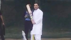 Watch: Rahul Gandhi plays cricket after his chopper made emergency landing