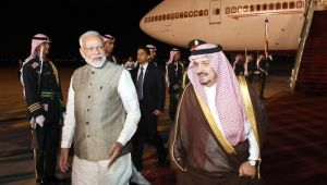 PM Modi arrives at King Saud Palace in Riyadh