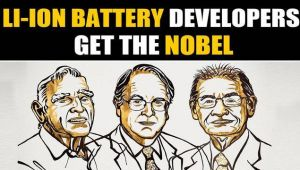 Nobel prize in chemistry for development of Lithium ion batteries