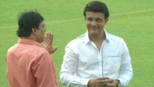 Sourav Ganguly inspects pitch at Eden Gardens
