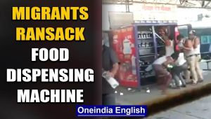 Madhya Pradesh:Desperate migrants ransack food dispensing machine at a railway station