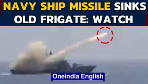 Indian Navy ship launches missile, sinks old frigate