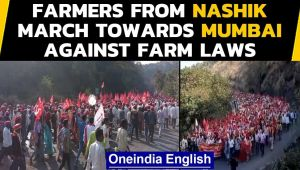 Farmer stir: Thousands cover 180 Km on foot, to hold protest at Azad Maidan on Monday