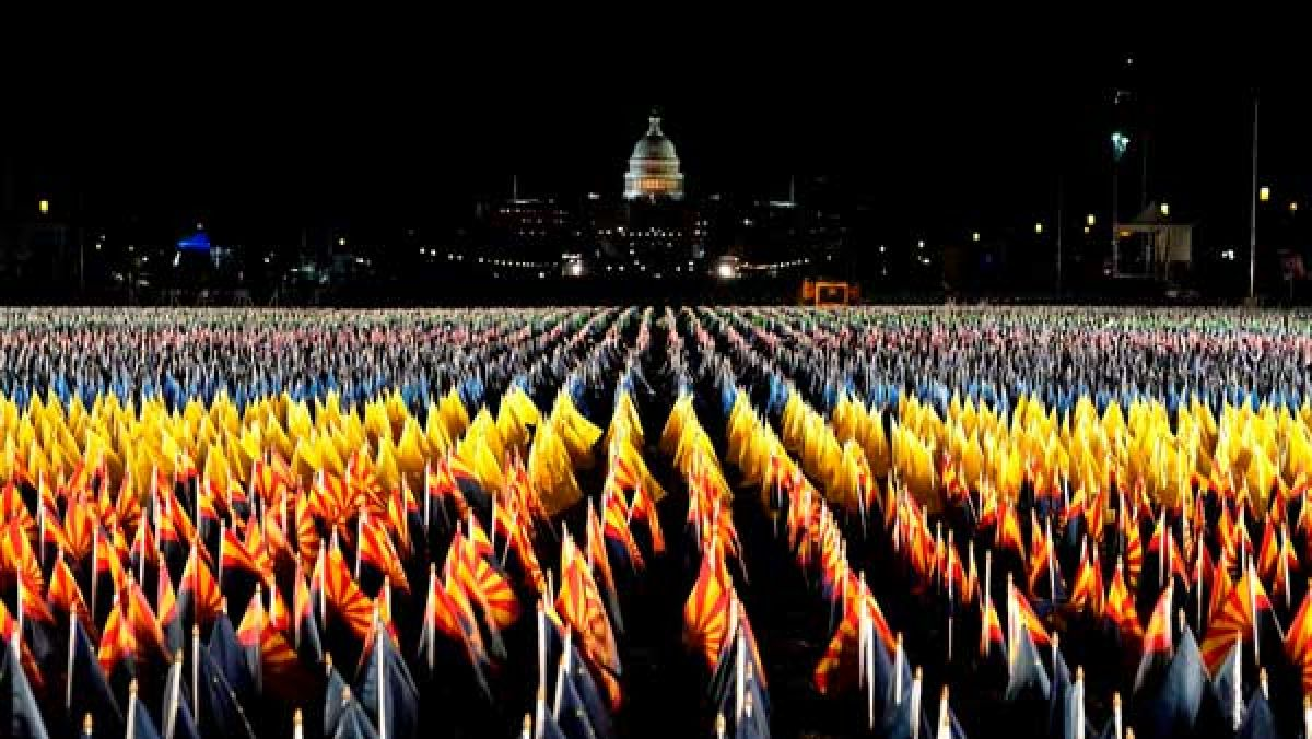 In pics: 'Field of Flags' illuminated ahead of Joe Biden's inauguration
