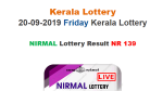 Kerala Lottery Today Result:  Nirmal NR-139 lottery result