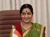 Sushma Swaraj arrives in Nepal for donors conference
