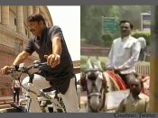 Odd-even rule: BJP MPs reach Parliament by riding horse, cycle