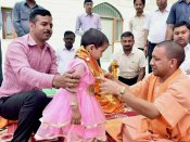 Yogi Adityanath performs <i>Kanya Pujan</i>; pics go viral