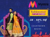 Myntra Diwali Fashionotsav - Upto 80% Off + 10% Cashback* (Limited Period Offer)