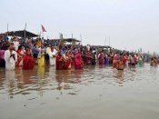 Green strictures for Chhat puja on the banks of River Mahananda in North Bengal