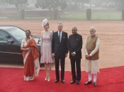 Belgian royal couple accorded ceremonial reception at Rashtrapati Bhavan