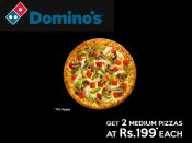 Dominos Sunday Treat: Grab 2 Pizzas at Rs. 199 each*