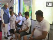PM Modi interacts with 9-year-old boy, beneficiary of 'Jaipur Foot' in Philippines
