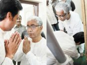 Touching: Biplab Deb touches Manik Sarkar's feet at swearing-in, says 'we need his experience'